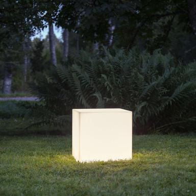 Dekorativer Gartenwürfel Gardenlight in Weiss 380 mm