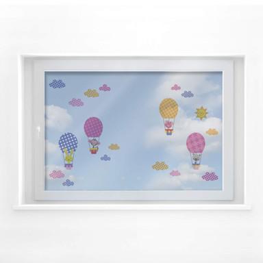 Fensterbild Muster - Lustige Tiere im Heißluftballon (Set)
