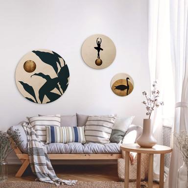 Holzbild Kubistika - Goldene Monde - 3er Set - Rund - Bild 1