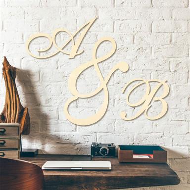 Holzbuchstaben Einzelbuchstaben verschnörkelt - Pappel