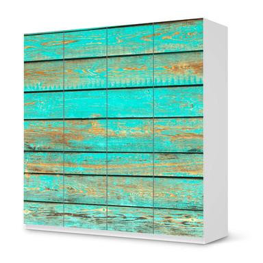 Klebefolie IKEA Pax Schrank 201cm Höhe - 4 Türen - Wooden Aqua- Bild 1