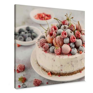 Leinwandbild Torte mit Beeren - Quadratisch