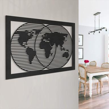 MDF - Holzdeko Weltkarte im Rahmen