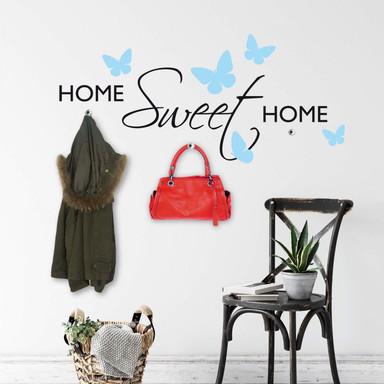 Wandtattoo Haken Home Sweet Home mit Schmetterlingen + Haken (inklusive 3 Bullet)
