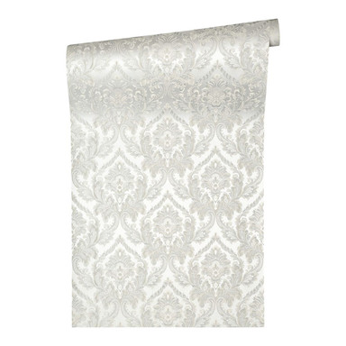 Architects Paper Textiltapete Di Seta Barocktapete mit Ornamenten grau, weiss