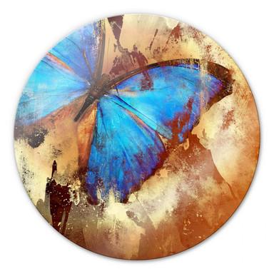 Glasbild Butterfly Ice - rund