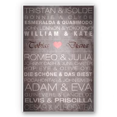 Hartschaumbild Wunschtext - Famous Couples