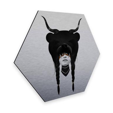 Hexagon - Alu-Dibond-Silbereffekt Ireland - Bear Warrior - Bärenkriegerin