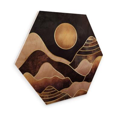 Hexagon - Holz Birke-Furnier Fredriksson - Sonnenuntergang