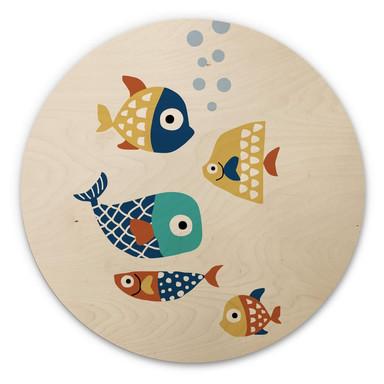 Holzbild Kubistika - Bunte Fische - Rund