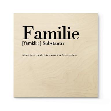 Holzposter Grammatik - Familie - Quadratisch