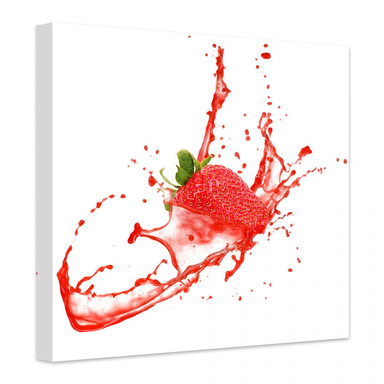 Leinwandbild Splashing Strawberry