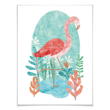 Poster Goed Blauw - Der Flamingo