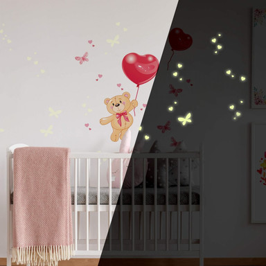 Wandsticker Bärchen mit Luftballons + Leuchtsticker