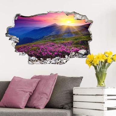 3D Wandtattoo Sonnenuntergang in den Bergen