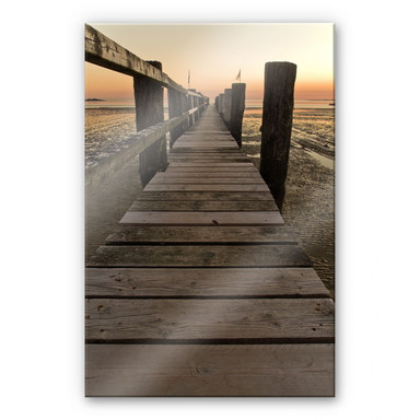 Acrylglasbild Steg im Wattenmeer