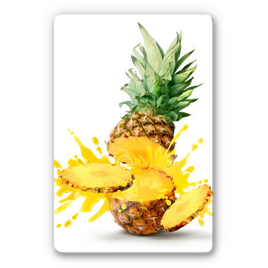 Glasbild Splashing Pineapple