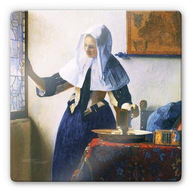 Glasbild Vermeer - Junge Frau mit Wasserkanne am Fenster - quadratisch