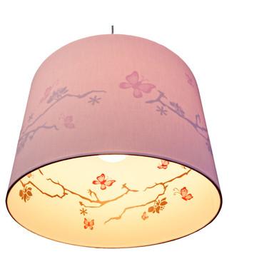 Kinderzimmer Pendelleuchte mit Schmetterlingsdruck innen, rosa, E14