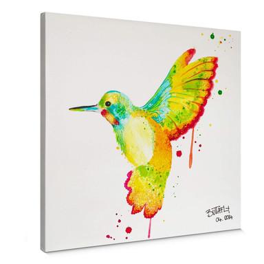 Leinwandbild Buttafly - Kolibri - quadratisch