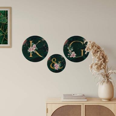 Wandtattoo Goldene Buchstaben & Zahlen mit Magnolien - Rund