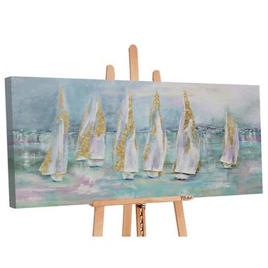 Acryl Gemälde handgemalt Segelboote 140x70cm - Bild 1