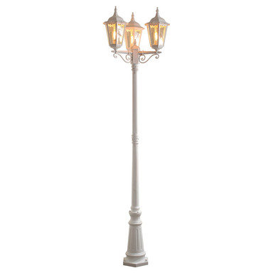 Dekorativer Kandelaber Firenze mit 3 Leuchtenköpfen aus Aluminium in weiss und Glas in klar, E27 Fassung, IP43