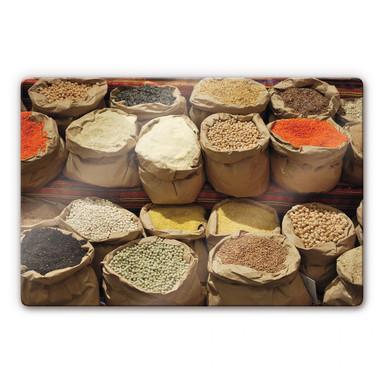 Glasbild Indischer Markt