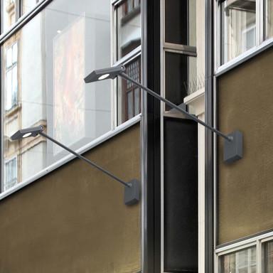 Hochwertige Aussenwandleuchte Toran-2 eckig-länglich in dunkel-grau LED schwenkbar