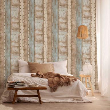 Livingwalls Vliestapete Industrial Tapete in Vintage Optik beige, blau, braun
