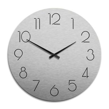 XXL Wanduhr Alu Dibond Silbereffekt - Modern nur mit Zahlen Ø 70cm - Bild 1