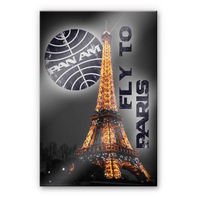 Acrylglasbild PAN AM - Paris Eiffelturm beleuchtet