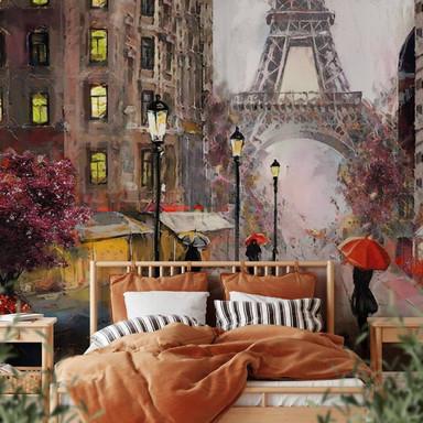 Fototapete Roter Schirm in Paris Aquarell