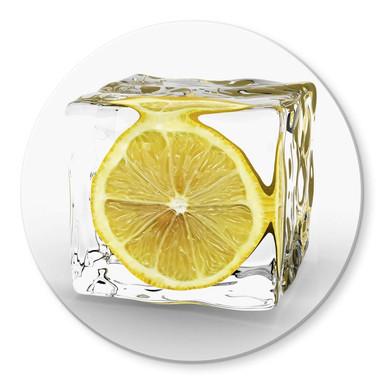 Glasbild Zitroneneiswürfel rund