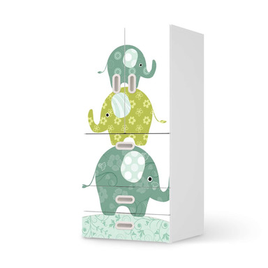 Möbelfolie IKEA Stuva / Fritids - 3 Schubladen und 2 kleinen Türen - Elephants