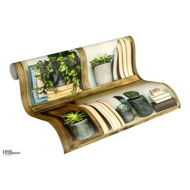 A.S. Création Vliestapete Authentic Walls 2 Tapete mit fotorealistischem Holzregal grün, braun, grau