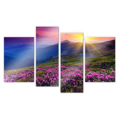 Acrylglasbild Sonnenuntergang in den Bergen (4-teilig)