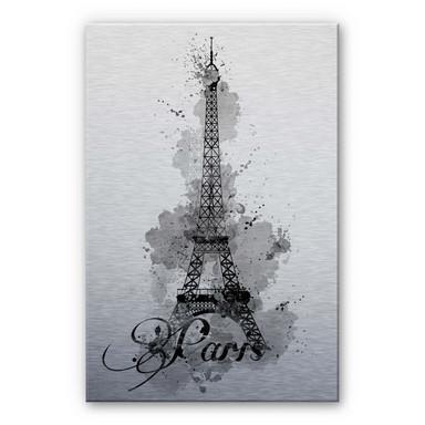 Alu-Dibond Bild La Tour Eiffel Aquarelle - schwarz/weiss