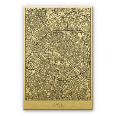 Alu-Dibond-Goldeffekt Stadtplan Paris