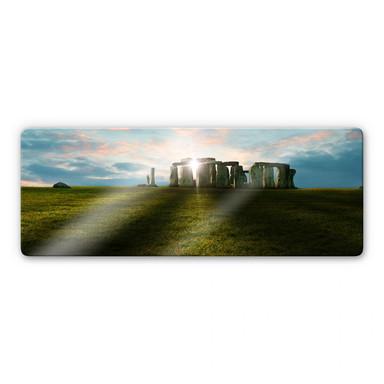 Glasbild Stonehenge im Sonnenuntergang - Panorama