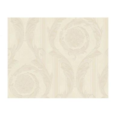 Mustertapeten Versace Wallpaper Tapete Barocco & Stripes Creme, Metallic