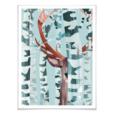 Poster Goed Blauw - Hirsch im Wald