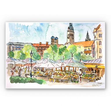 Wandbild Bleichner - München - Viktualienmarkt