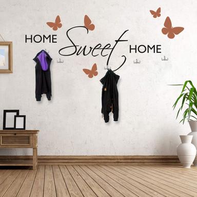 Wandtattoo Home sweet Home (2-farbig) inkl. 5 Haken