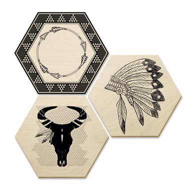 Hexagon - Holz Birke-Furnier - Ethnie-Indianer (3er Set)