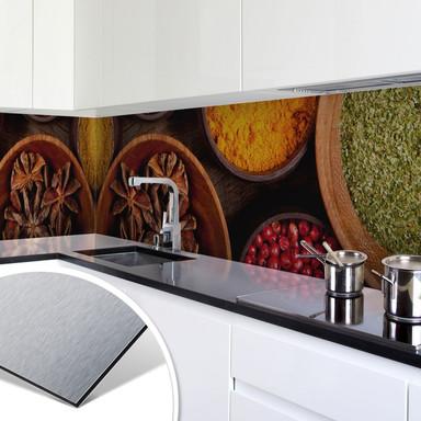 Küchenrückwand - Alu-Dibond-Silber - Gewürze