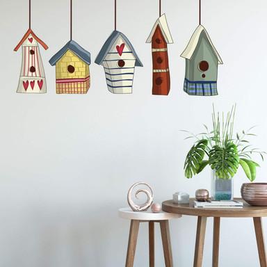 Wandsticker Vogelhäuschen Set