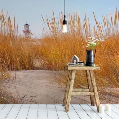Fototapete Leuchtturm im Strandfeld