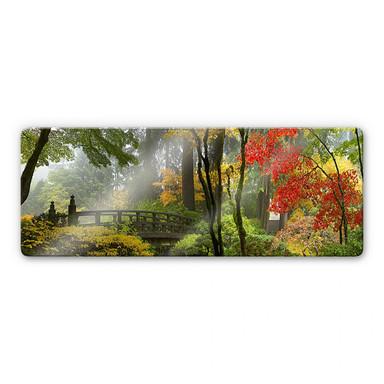 Glasbild Japanischer Garten Panorama - Bild 1