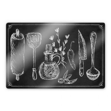 Glasbild Rustic Kitchen